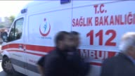 Injured people are taken to hospital with ambulances at site of an explosion close to Ankara's main train station on October 10 2015 in Ankara Turkey...