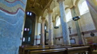 MS POV Inner part of Abbey church of Saint-Savin(UNESCO World Heritage) / Saint-Savin, Poitou-Charentes, France