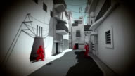 Innercity street with wandering robot people