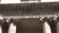 Inscription above the entrance to The Old Bailey Available in HD.