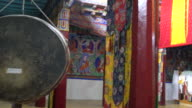 Inside of the main prayer room of the Samstanling Monastery, Nubra Valley, Ladakh, India
