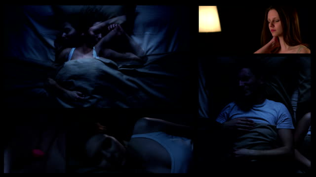 Schlaflosigkeit.  Split screen.