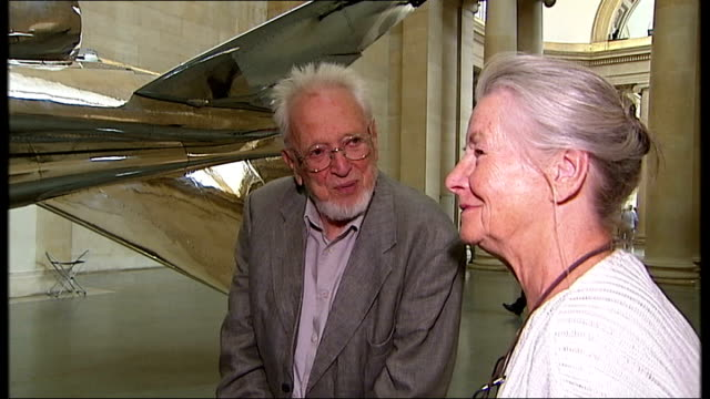 Installation artist Fiona Banner interview Older couple looking at Jaguar jet and speaking about its aerodynamics SOT Vox pop Reporter to camera...