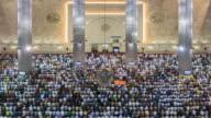 WS T/L Instiqal mosque, men praying during Friday prayers / Jakarta, Java, Indonesia