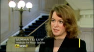 Institute for Fiscal Studies warn of long term austerity ENGLAND London Millbank INT Gemma Tetlow interview SOT govt was pencilling in spending cuts...
