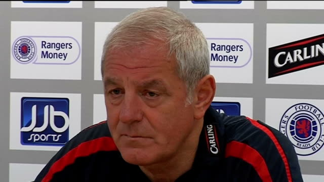 Glasgow Rangers Walter Smith press conference Smith press conference SOT Talks about cyhances of Partick Thistle getting promoted from Scottish First...