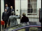 Interest rate cut MARCH 1981 ENGLAND London Downing St TMS Geoffrey Howe MP with wife next as holding up budget box as turns to show box to first fl...
