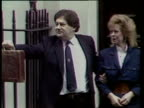 Interest rates EXT No 11 Downing St TMS Chancellor Nigel Lawson wife Therese out No 11 and budget box held up ZOOM IN