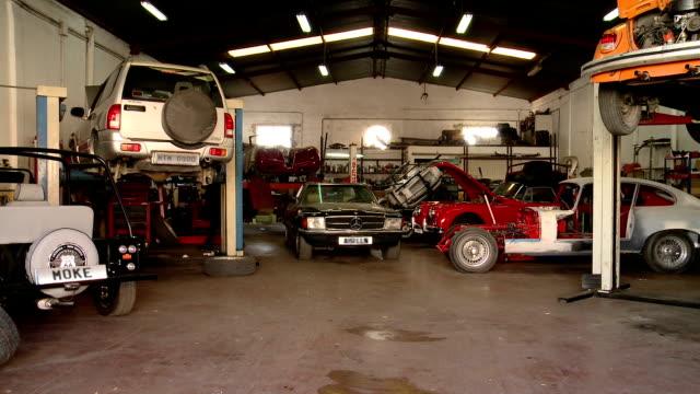 interior car mechanic's workshop,