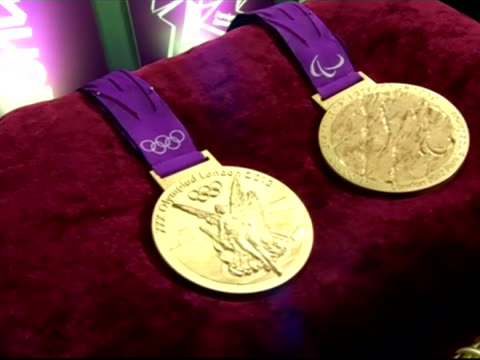 Interior close up shots London Olympic 2012 gold medals on display cushion Sky News 2012 Olympics Coverage on June 12 2012 in London England