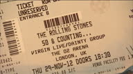 Interior close up shots tickets for the forthcoming Rolling Stones 50 Counting concert at the O2 Interior close up shots various Rolling Stones LPs...