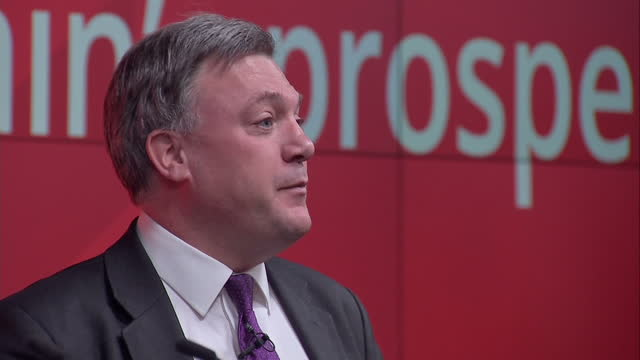Interior cutaway shots Ed Balls speaking on stage at Labour Business Manifesto launch on March 30 2015 in London United Kingdom
