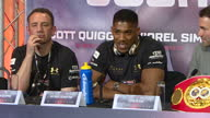 Interior cutaway shots of Wladimir Klitschko and Anthony Joshua speaking during a news conference at Sky Central ahead of their world heavyweight...