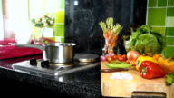 Interior design of modern kitchen with kitchenware, variety vegetable / activity & healthy lifestyle conceptual