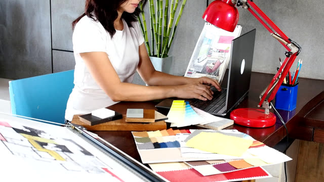 Interior designer working stock footage video getty images - Work of home interior designer ...