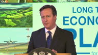 Interior grab David Cameron British Prime Minister talks about tax increase plans by Labour and how its a choice between the sensible economic...