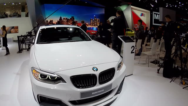 Interior high angle roaming shots of various BMW cars on BMW's display stand at the Detroit Motor Show on January 20 2015 in Detroit Michigan