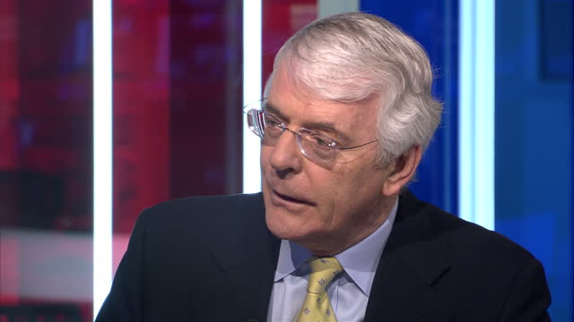 Interior interview John Major Former British Prime Minister telling Sky News that the world would regret it if Colonel Gaddafi's leadership is...