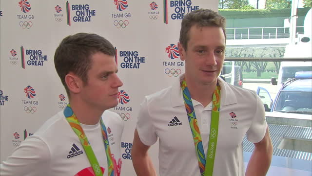 Interior interview with Alistair Brownlee and Jonny Brownlee Team GB Triathletes with Gold and Silver Medals talking about coming first and second in...