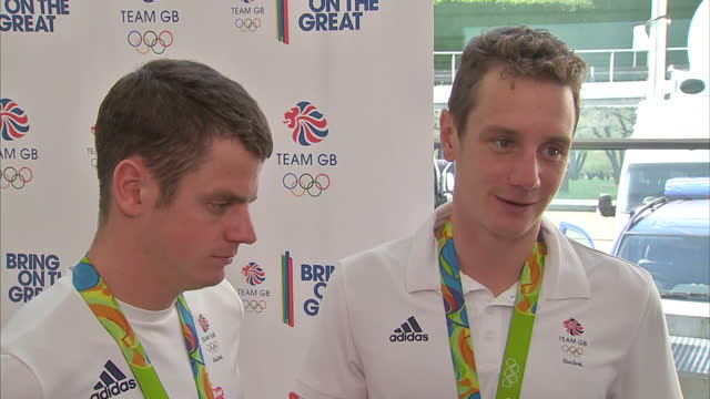 Interior interview with Alistair Brownlee and Jonny Brownlee Team GB Triathletes with Gold and Silver Medals talking about encouraging people to take...