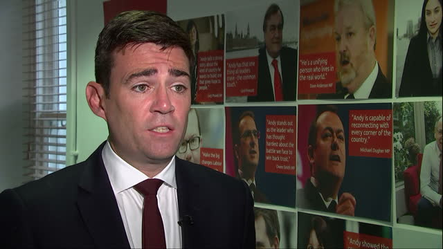 Interior interview with Andy Burnham MP regarding welfare reforms and benefits on August 24 2015 in London England