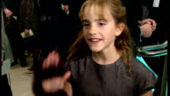 Interior Interview with Emma Watson at the premiere of Harry Potter and the Philosopher's Stone on November 4 2001 in London England