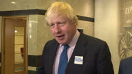 Interior interview with Foreign Secretary Boris Johnson on the campaign of Conservative councillor Andy Street on 2 May 2017 in Wolverhampton United...