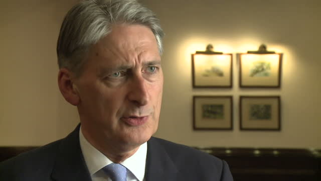 Interior interview with Foreign Secretary Philip Hammond speaking about the death of British citizen Sally Adey who was killed by an attack on...