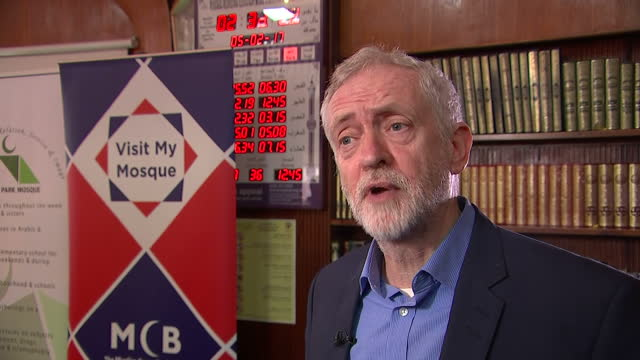 Interior interview with Labour party leader Jeremy Corbyn speaking about the importance of events like Visit My Mosque Day to promote interfaith...
