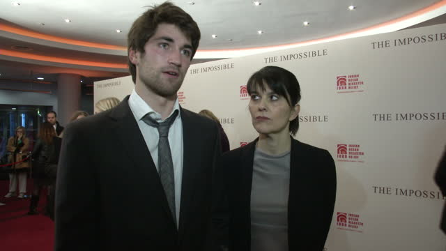 Interior interview with Lucas Maria Belon Tsunami survivors on the red carpet at the film premiere of The Impossible Lucas Maria Belon Interview on...