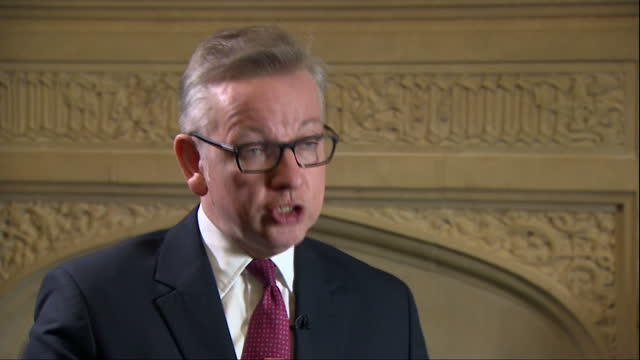 Interior interview with Michael Gove speaking about his vision for the UK if he were to become Prime Minister>> on June 30 2016 in London United...
