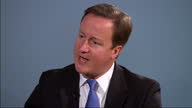 Interior interview with Prime Minister David Cameron on Child Benefits cuts David Cameron Spending Cuts Interview on October 05 2010 in Birmingham...