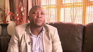 Interior interview with sign language interpreter Thamsanqa Jantjie apologising for any offence caused by his signing at the memorial service for...