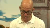 Interior interview with Sir Dave Brailsford manager of Team Sky speaking about the shadow of previous doping scandals that still hangs over cycling...
