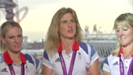 Interior interview with Team GB's Silver medal winning Equestrian team which includes Zara Philips William FoxPitt Mary King Nicola Wilson Team GB...