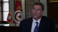 Interior Interview with Tunisian Prime Minister Habib Essid about the terror attack on beach arrests tourism and safety in Tunisia on July 11 2015 in...