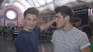 Interior interview with Youtube stars Alfie Deyes Marcus Butler on yotube giving them a personal connection with viewers on August 09 2014 in London...