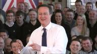 Interior of British Prime Minister talking about football and supporting Aston Villa Football Club at Rolls Royce Goodwood on February 18 2015 in...