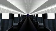 Interior of commercial airliner