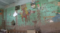 MS PAN Interior of farmer's house with frescoes of Egyptian life on living room walls, Kuna, Egypt
