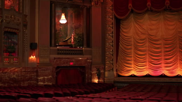 WS PAN Interior of Historic Movie Theater, From Audience Perspective / Richmond, Virginia, USA