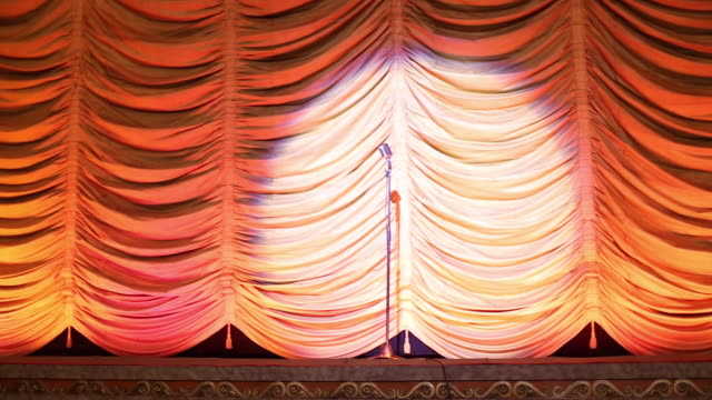 MS Interior of Historic Movie Theater, Spotlight Pans Onto Old Microphone on Stage / Richmond, Virginia, USA