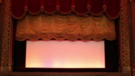 WS Interior of Historic Movie Theater, Stage Curtain Falls / Richmond, Virginia, USA