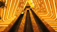 MS POV T/L Interior of hotel and  Elevator moving up down / Doha, Qatar