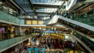 Interior of modern shopping mall,timelapse