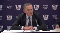 Interior of Premier League Chief Executive Richard Scudamore giving press conference announcing the details over the latest round of Premier League...