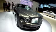 Interior roaming GoPro shots of various expensive Bentley cars on a display stand at the Detroit Motor Show on January 20 2015 in Detroit Michigan