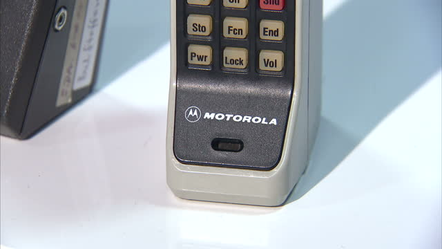 Interior set ups shots of retro vintage old mobile phones car phones Motorola Vodafone Racal on January 01 2015 in London England