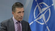 Interior shot Anders Fogh Rasmussen answering question on the role of NATO for neighbouring states of Ukraine on March 07 2014 in Brussels Belgium