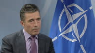 Interior shot Anders Fogh Rasmussen on whether Ukraine has softened stance in situation with Ukraine on March 07 2014 in Brussels Belgium